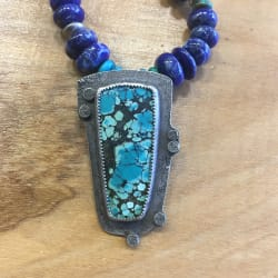 Chinese Turquoise Pendant with Lapis, Turquoise and Coral  Beads