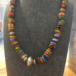 Recycled African Glass and Silver Beads
