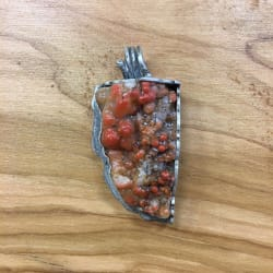 Orange Botryoidal Agate & Silver Pendant