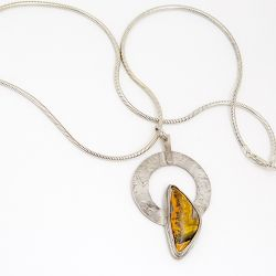 Bumble Bee Jasper Circle Pendant - SOLD