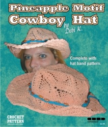 Pineapple Motif Cowboy Hat Crochet Pattern & Hat Band