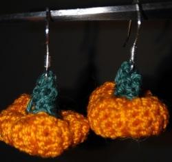 Pumpkin Earrings Crocheted
