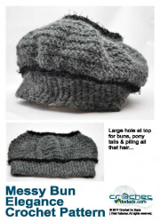 Messy Bun Elegance Hat Crochet Pattern