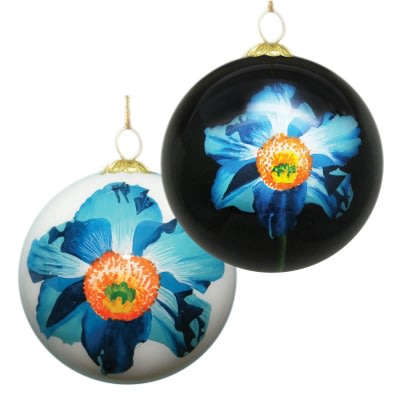 Reverse-Painted Blue Poppy Ornament