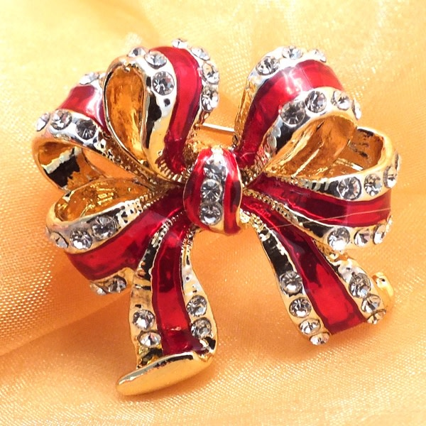 Ruby Red Bow Brooch