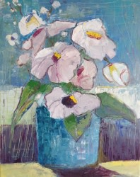 Blue Vase with Flowers - SOLD